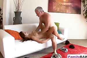 Old guy pounding tight shaved pussy