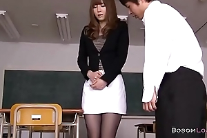Seducing sexy Japanese teacher in nylons [Footjob]