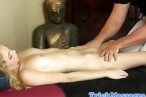 Lovely glam beauty pleasured at the end of one's tether her masseur