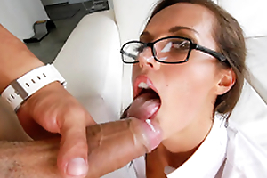 Kelsi Monroe acquires sperm on glasses after XXX banging from behind
