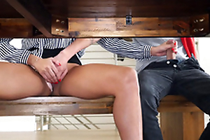 Young man enjoys Anissa Kate's hand on XXX tool under stepmom's nose
